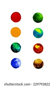 Set of colorful watercolor hand painted circle isolated on white. Watercolor
