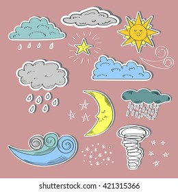 Set of colorful weather icons. Cute sun, moon, wind, and clouds. Raster.