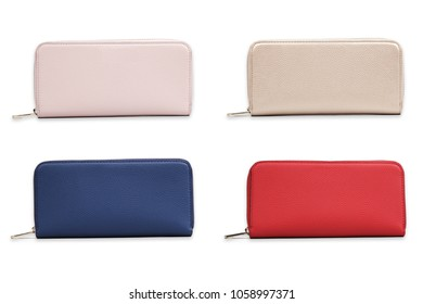 set of colorful women's purses, collage of wallets isolated on white background