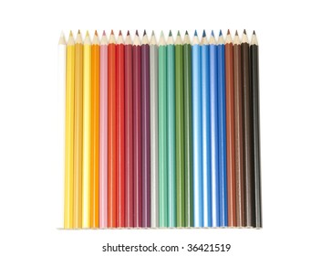 Set of colour pencils on white background