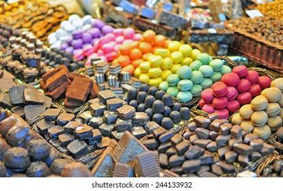 Set of colourful macarrons, Boqueria market, Barcelona