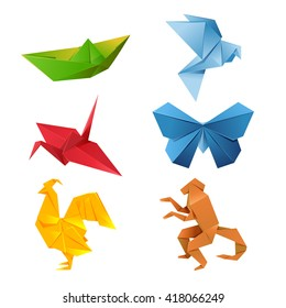 Set of colourful origami animals