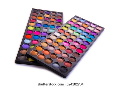 Set of colourful shadow for make-up isolated on white