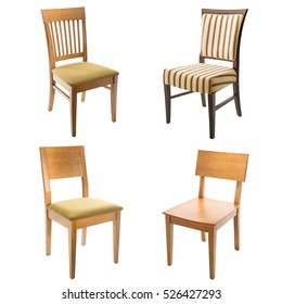 Set of comfortable arm chairs isolated on white background. Leather, wooden and textile chairs.