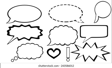 Set of comic style speech bubbles. Isolated.