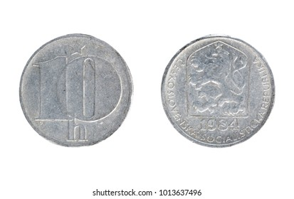 Set of commemorative the Czechoslovakia coin, the nominal value of 10 haleru, from 1984. Isolate on white background