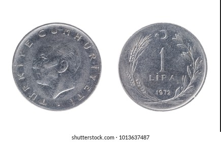 Set of commemorative the Turkish coin, the nominal value of 1 lira, from 1972. Isolate on white background