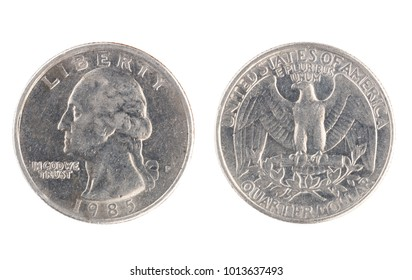Set of commemorative the USA coin, the nominal value of Quarter dollar, from 1985. Isolate on white background