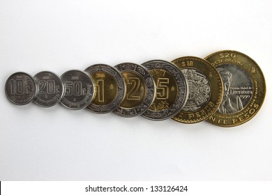 Set of common Mexican Peso coins, arranged by value, overlapping. Includes 10, 20 and 50 cents, plus 1, 2, 5, 10 and 20 Pesos.
