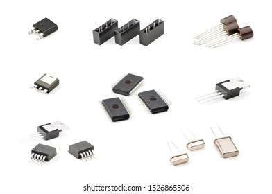Set of components, LED indicator, capacitor, resistor, diode