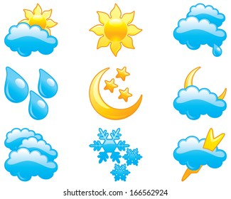 Set of  computer glossy icons for weather
