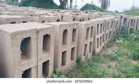 Set of concrete blocks on a grass