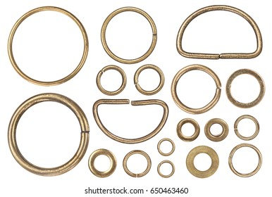 A set of connecting rings are different sizes for needlework isolated on white background