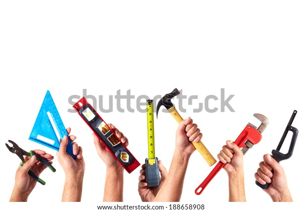 Set of construction tools. House renovation background.