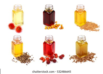 Set of cooking oils isolated on white background