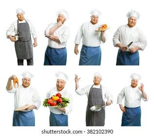 Set of cooks isolated on white