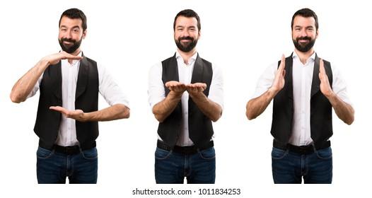 Set of Cool man holding something