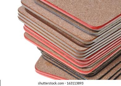 Set cork mat isolated on white background