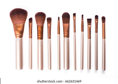 set cosmetic brush for beauty makeup isolated on white background