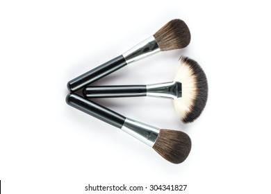a set of cosmetic brush,  High Angle view, fashion and beauty,  tool set