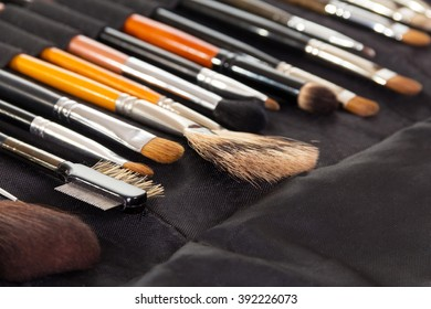 A set of cosmetic brushes for make-up on a background of dark fabric.