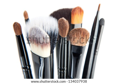 Set of a cosmetic brushes./ Makeup brushes on a white background