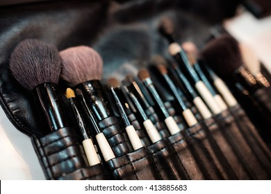 Set of cosmetic brushes, selective focus with high contrast.