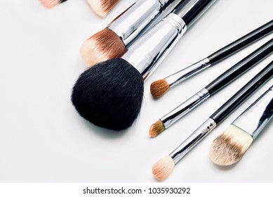 Set of cosmetic make-up brush on white background, fashion and beauty tool