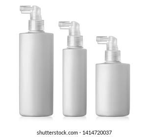 Set of cosmetic plastic bottle isolated on white background