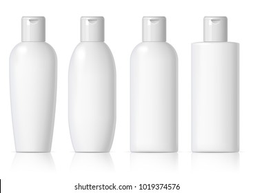 set of cosmetic products on a white background. Package collection for cream, soups, foams, shampoo. Object, shadow, and reflection on separate layers. 3D illustration.