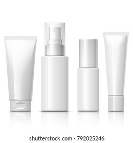 set of cosmetic products on a white background. Package collection for cream, soups, foams, shampoo. 3D illustration