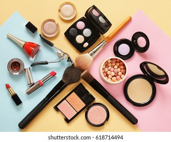 Set cosmetics makeup, brush, eye shadow and lipstick