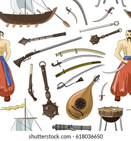 set of Cossacks objects pattern, icons and design elements in flat style. Cossack man, weapons, boats, drum.