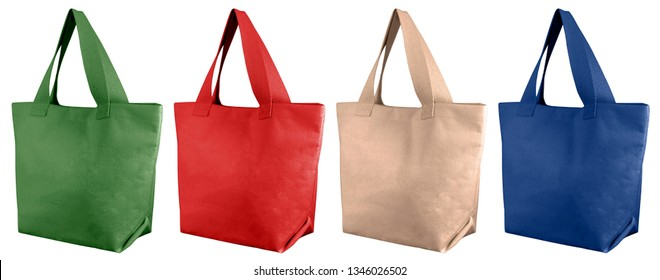 Set cotton bags, tote shopping bags isolated on white background