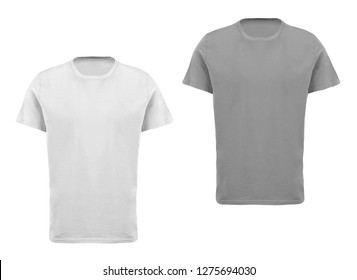 set of cotton t-shirts isolated over white background