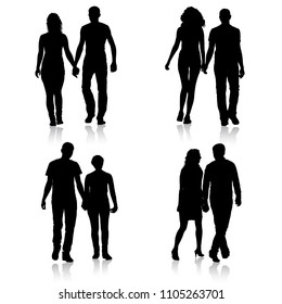 Set couples man and woman silhouettes on a white background