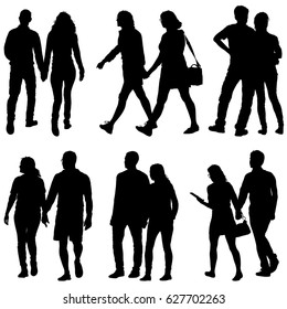 Set Couples man and woman silhouettes on a white background. illustration.