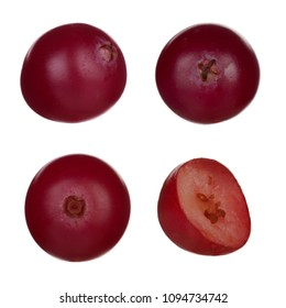 set of cranberries isolated on white background