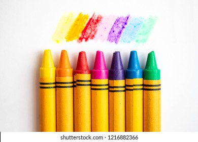 Set of crayons with all of the colors of the rainbow