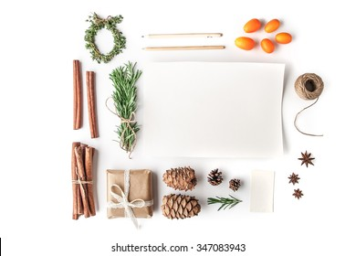 Set to create a Christmas card on the white background horizontal