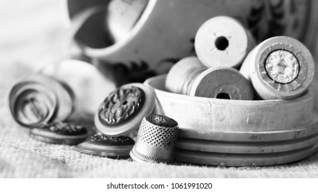 Set for creativity and sewing, threads and buttons, toned