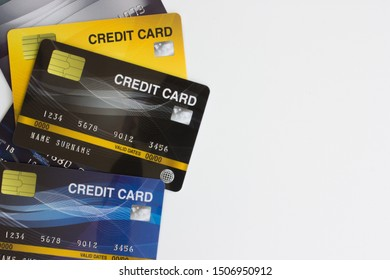Set of credit cards isolated on white background
