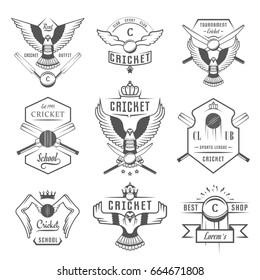 Set of cricket team emblem design elements. Sign and logo sport game. Raster version.