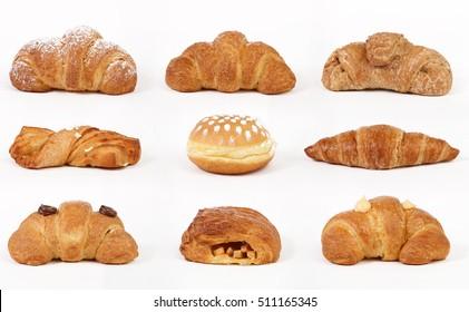 Set of croissants isolated on white background