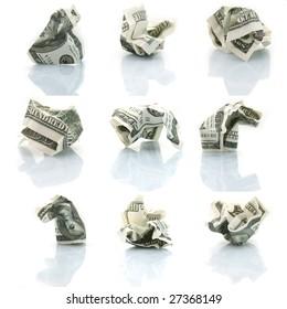 set of crushed one hundred dollar bills isolated on white