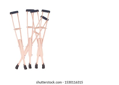 Set of crutches. Elbow crutch, wooden crutch. Medical equipment. Isolated on white.