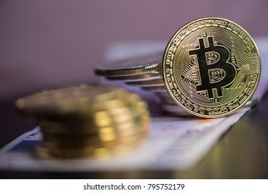 Set of cryptocurrencies. Bitcoin as most important cryptocurrenc