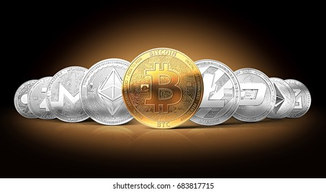 Set of cryptocurrencies with a golden bitcoin on the front as the leader. Bitcoin as most important cryptocurrency concept. 3D render