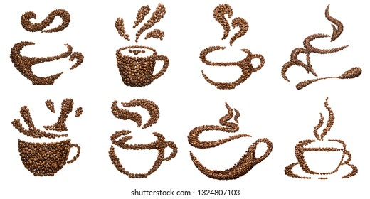 Set of cup shapes of roasted coffee beans isolated on white.