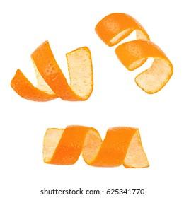 Set of curl mandarin peel isolated on white background
